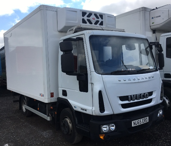 2015 IVECO 75 E16 4 X 2 WITH GRAY ADAMS 14FT FRIDGE WITH MEAT RAILS